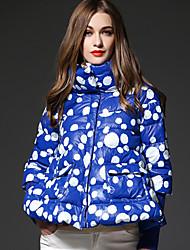 frmz женские горошек синий вниз coatcute стоять длинный рукав