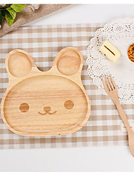Baby Child Sub-Grid Plate Rubber Wood Cartoon Rabbit Plate Tableware Taste