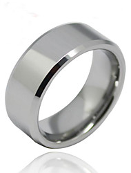 Unisex anel Ring Polish Silver Mens Tungsten Steel Ring Bevel Band Men Jewelry