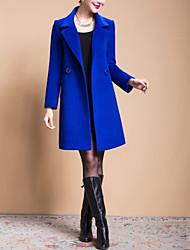Women's Solid Blue / Black / Yellow Casual Loose Long Woolen Overcoat , Work / Plus Sizes Long Sleeve Wool