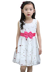 Girl's Casual/Daily Print Dress,Cotton / Others Summer White / Yellow