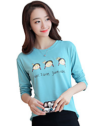 Women's Going out Cute Spring / Fall T-shirtSolid Round Neck Long Sleeve Multi-color Cotton Thin