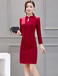 Women's Casual/Daily Simple Sheath DressSolid Asymmetrical Above Knee Long Sleeve  Linen Polyester