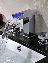 Art Deco/Retro / Modern Widespread LED / Waterfall / Widespread with  Ceramic Valve Two Handles Three Holes for  Chrome
