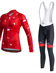 Miloto Cycling Jersey with Bib Tights Women's Unisex Long Sleeve BikeTracksuit Jersey Tights Bib Tights Pants/Trousers/Overtrousers Tops