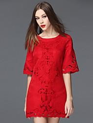 frmz sair bainha do vintage dressembroidered em torno do pescoço de mini comprimento da manga de poliéster vermelho / spandex verão