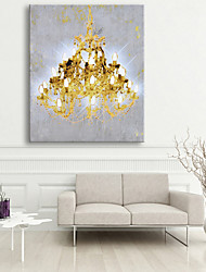 E-HOME® Stretched LED Canvas Print Art Golden Chandeliers LED Flashing Optical Fiber Print One Pcs