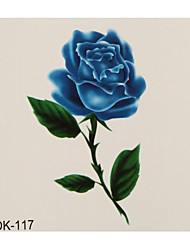 1pc Colorful Waterproof Tattoo Blue Rose Flower Small Temporary Tattoo Sticker 6*6cm