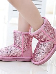 Girl's Boots Winter Snow Boots Suede Casual Flat Heel Sequin Black / Pink Snow Boots