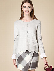 Damen Kurz Pullover-Lässig/Alltäglich Einfach Solide Grau Rundhalsausschnitt Langarm Baumwolle Herbst Dünn Mikro-elastisch