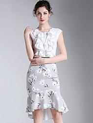 Eosciy® Damen Rundhalsausschnitt Ärmellos Knielänge Kleid-52306