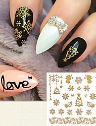 моды золочение наклейки для ногтей 3D Рождество элемент