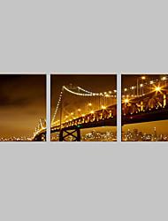 E-HOME® Stretched LED Canvas Print Art  The Night Under Bridge Flash effect LED Set of 3