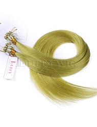 10A Grade Green Micro Loop Ring Beads Hair extensions Silky Straight 100grams Brazilian Virgin Human Hair Braids