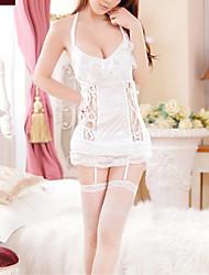 Для женщин Халат / Ультра-секси Ночное белье Однотонный Кружева Белый Женский