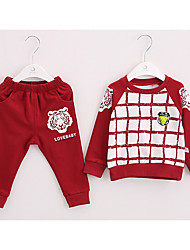 Boy's Casual/Daily Check Clothing SetCotton Spring / Fall Multi-color / Red