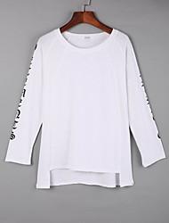 Damen Solide Einfach Lässig/Alltäglich T-shirt,Rundhalsausschnitt Herbst Langarm Weiß / Schwarz / Orange Baumwolle Mittel