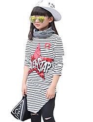 Casual/Dagelijks-Gestreept-Katoen-Lente / Herfst-Girl's-T-shirt-Zwart