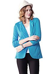 Damen Solide Einfach Lässig/Alltäglich Blazer,V-Ausschnitt Frühling / Herbst Langarm Blau Kunstseide / Polyester / Elasthan Dünn