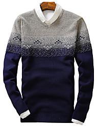 Herren Pullover-Einfarbig Freizeit / Sport Baumwolle Lang Blau / Lila / Rot