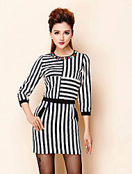 Boutique S Women's Formal Simple Spring Set SkirtStriped Round Neck  Sleeve Blue Cotton / Polyester Medium