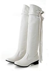 Damen-Stiefel-Lässig-Kunstleder-Blockabsatz Block Ferse-Modische Stiefel-