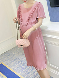 Maternity Casual/Daily Simple Loose Dress,Solid Round Neck Knee-length Short Sleeve Pink Silk Summer