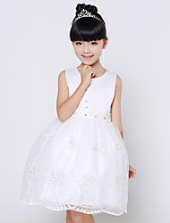 Ball Gown Knee-length Flower Girl Dress - Cotton / Lace / Organza / Satin Short Sleeve Jewel with Beading / Flower(s)
