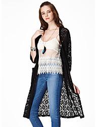 Damen Lang Mantel / Capes-Lässig/Alltäglich Einfach Solide Weiß / Schwarz Rundhalsausschnitt ¾-Arm Baumwolle / Nylon Frühling / Herbst