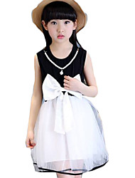 Girl's Casual/Daily Patchwork DressCotton Summer Black / Red
