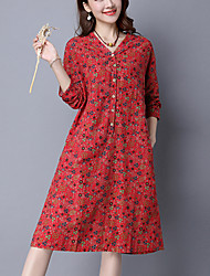 Women's Casual Simple Loose Dress,Floral V Neck Knee-length Long Sleeve Blue / Red / Green Cotton / Linen Spring / Fall