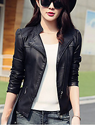 Women's Going out / Casual/Daily Simple Fall Leather Jackets,Solid Stand Long Sleeve Black PU Medium
