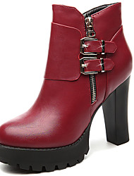 Women's Boots Spring/Fall/Winter Snow Boots / Combat Boots Synthetic Office & Career / Casual Zipper Black/Red