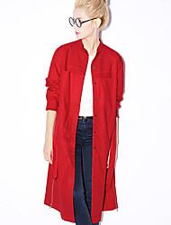 novo antes casual / diária simples trincheira das mulheres coatsolid ficar primavera manga / cair vermelho / marrom