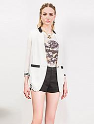 I'HAPPY Women's Work Simple Spring / Fall BlazerColor Block V Neck Long Sleeve White / Green Polyester / Spandex Medium