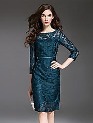 Multiflora Women's Round Neck 3/4 Length Sleeve Midi Dress-6017162120140