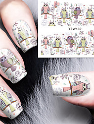 Cartoon Owl Nail Art Water Decals Transfer Nails Sticker BORN PRETTY