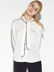 Tee-shirt Aux femmes,Couleur Pleine Travail simple Printemps / Automne Manches Longues Col Arrondi Blanc Coton / Nylon / Spandex Moyen