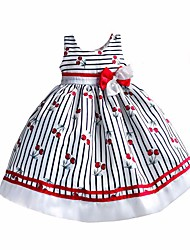 Girl's Dress Striped Cherry Bow Party Pageant Birthday Casual Cute Kids Clothing