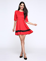 Women's Work Swing Dress,Patchwork Boat Neck Above Knee ¾ Sleeve Red / Beige Cotton Fall