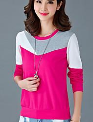 Normal Hoodies Femme Décontracté / Quotidien / Grandes Tailles simple,Mosaïque Bleu / Rouge Col Arrondi Manches Longues Coton Automne Fin