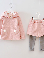 FangXingBeiYiGirl's Casual/Daily Solid Clothing SetCotton Fall Blue / Pink / Red