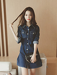 Boutique S Going out Simple Sheath DressSolid Shirt Collar Above Knee Long Sleeve Blue Cotton Summer