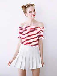 Linjou Women's Going out Cute Summer T-shirtStriped Boat Neck  Length Sleeve Red / White / Black Cotton Medium