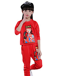 Girl's Casual/Daily Embroidered Clothing SetCotton / Spandex Spring / Fall Black / Red