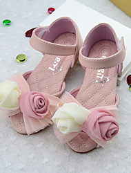 Girls' Sandals PU Summer Casual Flower Flat Heel White Blushing Pink Flat
