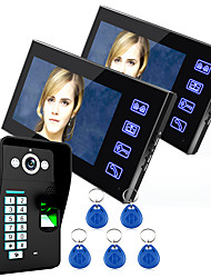 Ennio Touch Key 7 Lcd Fingerprint Video Door Phone Intercom System Wth fingerprint access control 1 Camera  2 Monitor