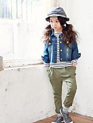 Pantalones Chica de-Casual/Diario-Un Color-Algodón-Verano / Primavera-Verde