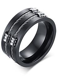 Men's Fashion Personality 316L Titanium Steel Black Ring Polishing Band Rings Casual/Daily Accessory 1pc