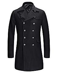 Men's Plus Size Vintage / Street chic Coat,Solid Shirt Collar Long Sleeve Fall / Winter Blue / Black Others Medium / Thick